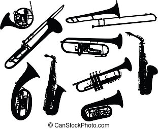 silhouettes of wind instruments - Set of different vector ...