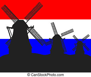 silhouettes of windmills in the background of the Dutch flag