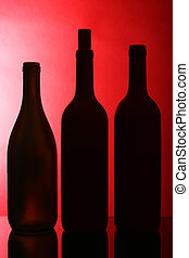 Silhouettes of wine bottles