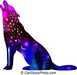 Silhouettes of Wolf with space galaxy background effect