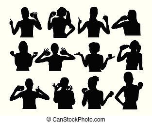 Silhouettes of Woman Eating Fruit