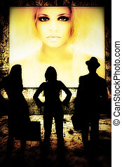 silhouettes of women and man standing in front of young woman on