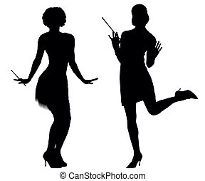 Silhouettes of women from cabaret