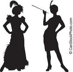Silhouettes of women from cabaret - Silhouettes of women...