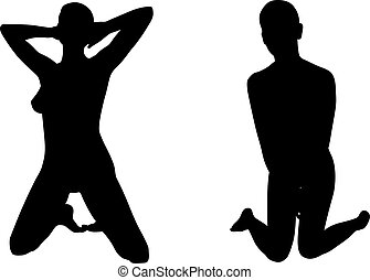 Silhouettes of women on knees