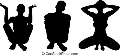 Silhouettes of women posing