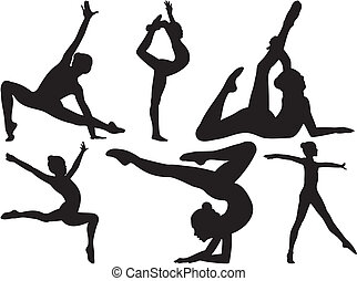 gymnastics and fitness - silhouettes of women practicing ...