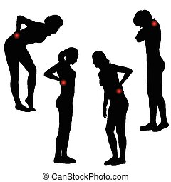 Silhouettes of women with back pain