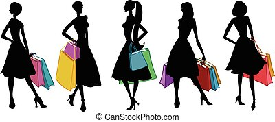 Silhouettes of women with shopping bags. Vector illustration.