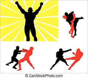 Silhouettes of wrestlers