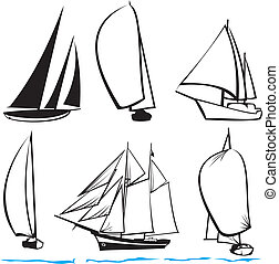 silhouettes of yachts - sailing icon, by the sea, sea voyage...