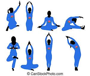 Silhouettes of yoga