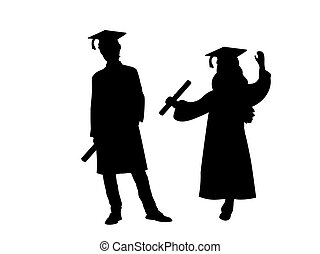 Silhouettes of young man in young girl graduates