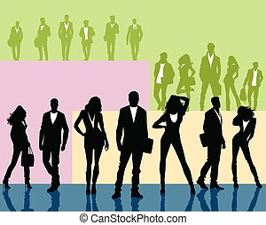 Silhouettes of young people groups
