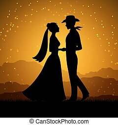 Silhouettes of young woman and cowboy man