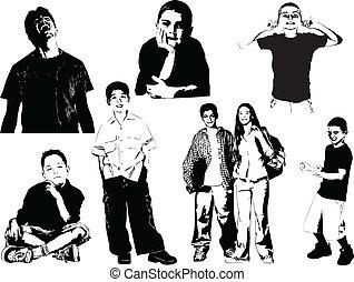 silhouettes., oito, adolescente, vecto