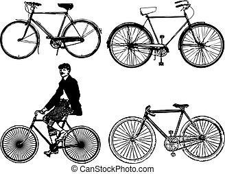 classic bike - silhouettes old classic bike Illustration...