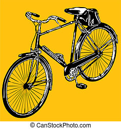 silhouettes old classic bike Illustration Vector