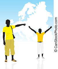 Silhouettes on a background the map