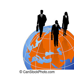 Silhouettes on a World Globe