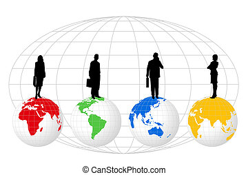 Silhouettes on World Globes - Illustration with silhouettes...