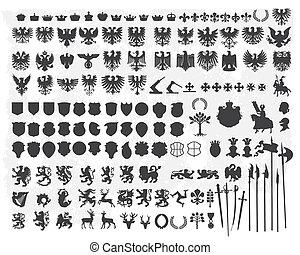 silhouettes, ontwerp, heraldisch