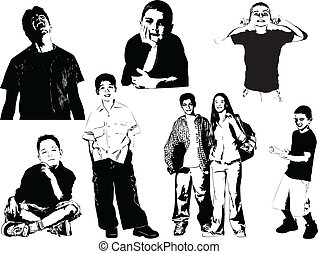 silhouettes., otto, adolescente, vecto
