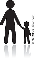 silhouettes, père, fils