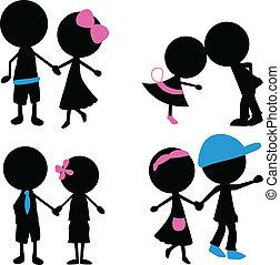 silhouettes, paar, figuur, stok