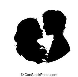 silhouettes, paar, hartelijk