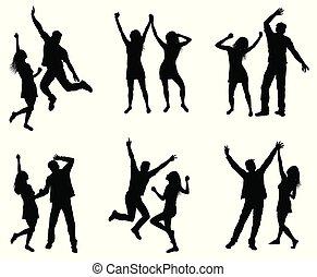 silhouettes., paar, set, dancing