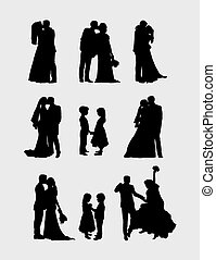 silhouettes, paires, mariage