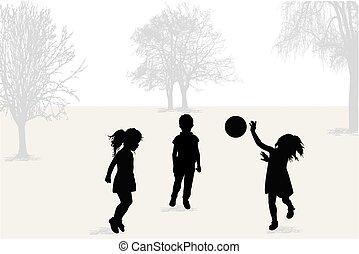 silhouettes., palla, gioco, bambini