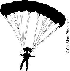 silhouettes, parachutage, vecteur, skydiver