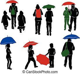 silhouettes, parapluie, gens