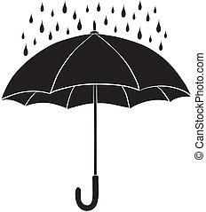 silhouettes, parapluie, pluie