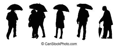 silhouettes, parapluies, gens