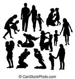 silhouettes, parents, gosse
