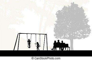 silhouettes, park., famille