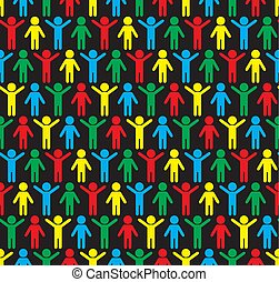 silhouettes, pattern., seamless, humain