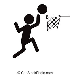 silhouettes people basket ball