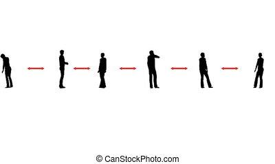 Silhouettes people keep distance 3d animation Social distance Corona virus. People line