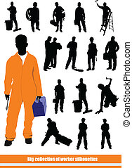 silhouettes., pessoas, cobrança, grande