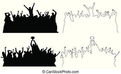 silhouettes, peuples, contour, danse