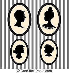 silhouettes, piortrait, famille
