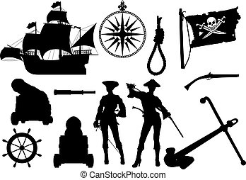 silhouettes, pirate