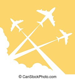 Silhouettes planes in sky. illustration.