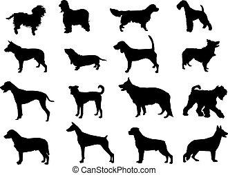 silhouettes, plus, chiens