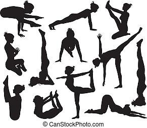 silhouettes, poses, yoga