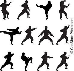 silhouettes, posities, karateka.